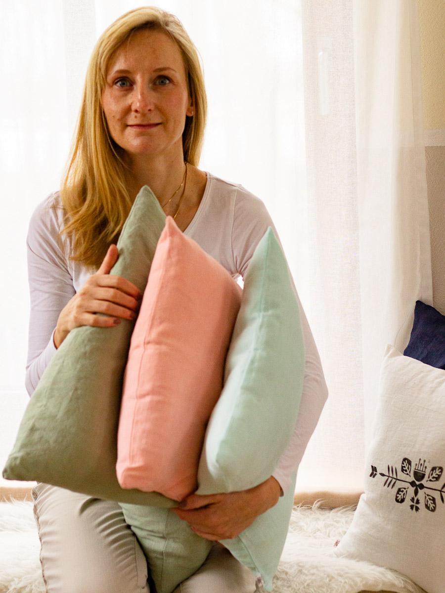 individuelle Home-Textilien aus Leinen maßgefertigt