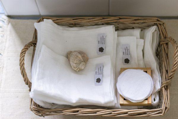 Badkollektion aus reinem Leinen